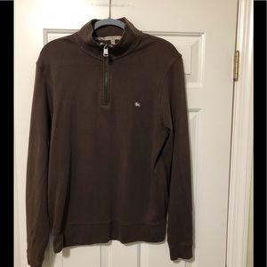 Burberry brown designer zip neck pullover L